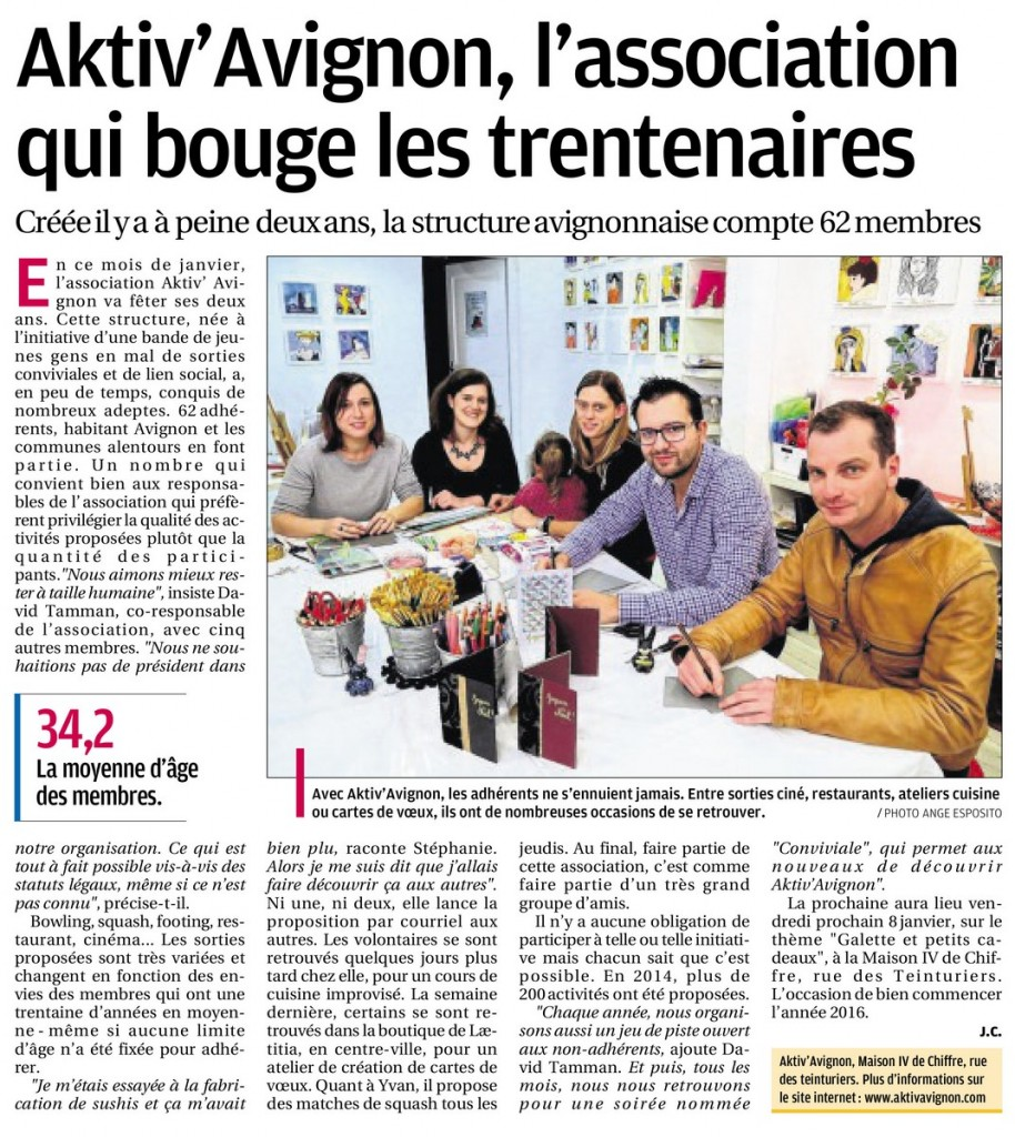 la provence 2 janvier 2016 aktiv 39 avignon sorties. Black Bedroom Furniture Sets. Home Design Ideas
